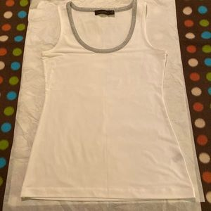 The Limited white tank top with silver neckline